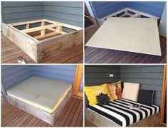 Recycled cushions and egg crate? The topper could be upholstered to the plywood. Leave a lip around the front to keep it from shifting. (Easier and cheaper than creating a cushion cover for the foam pad)