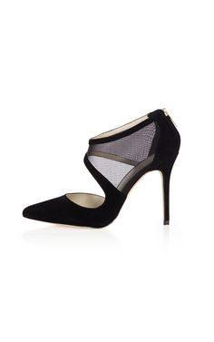 Suede leather and mesh asymetric court shoe
