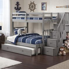 Cascade Staircase Brushed Grey Twin-over-full Bunk Bed with Trundle Bed. Wider bed at the bottom for a parent to sit and tell tall tales. Bunk Beds With Drawers, Bunk Beds With Storage, Bunk Bed With Trundle, Bunk Beds With Stairs, Bed Storage, Full Size Bunk Beds, Storage Stairs, Bunk Beds Boys, Cool Bunk Beds
