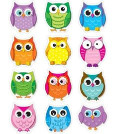 Carson Dellosa Education Colorful Owls Shape Stickers - These Owl Die-cut Are Acid Free And Lignin Free. Includes 72 In 12 Assorted Colors Shapes. Owl Crafts, Paper Crafts, Owl Theme Classroom, Classroom Teacher, Kindergarten Classroom, Classroom Ideas, Owl Templates, Owl Art, Owl Clip Art