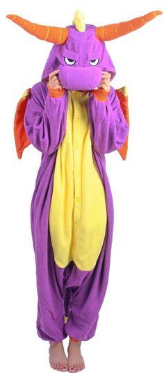Unisex-adult Kigurumi Onesie Purple Dragon Kigurumi Pajamas