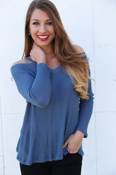 Cold Shoulder Knit {Blue} - The Rage - 2                              …