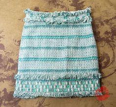 TORY BURCH BLUE WOVEN TWEED FRINGE BEADED NORA DRESS SKIRT 2 8 10 S M L $375 #ToryBurch #ALine