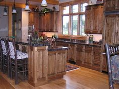 Kitchen Cabinets Knotty Alder white granite with rustic hickory or knotty alder cabinets, black