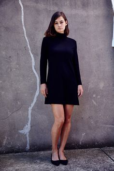 3f815e203c9b7 Shop the Dress Up long sleeve zip polo shift dress in black on Well Made  Clothes now!