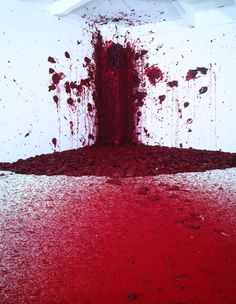 Anish Kapoor. Red wax pellets are fired from a special canon into a corner of the gallery space while spectators watch