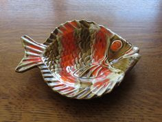 Vintage Ceramic Fish Dish; Retro 1970's Orange and Brown; Large Trinket, Coin, Change Tray; Candy Dish, Pottery, Marine, Fish Lover's Gift by BarefootAndCivil on Etsy