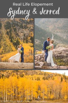 Real Life Fall Elopement | Sydney and Jerred in Ouray, Colorado. This sweet bride & groom had a simple micro wedding in the Rocky Mountains, with just their family as guests. The Elope Telluride team helped with planning the day so they could be stress free to enjoy their ceremony, followed by pictures at epic locations! Ask us about our packages in Telluride or Ridgway during summer and winter too. Get photography inspiration for your dress or attire, plus ideas for CO mountain…