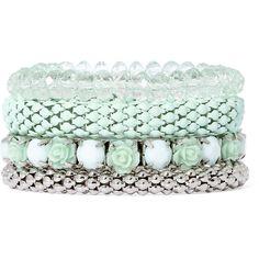 Decree Set of 4 Mint Bracelets ($20) ❤ liked on Polyvore featuring jewelry, bracelets, bead jewellery, beading jewelry, stackers jewelry, anaconda jewelry and snakeskin jewelry