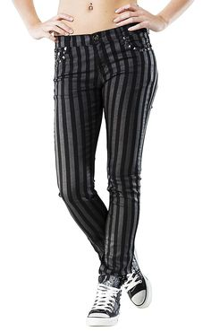 Rock Rebel by EMP Stripes (Slim Fit) Girl-Hose schwarz/grau: Amazon.de: Bekleidung