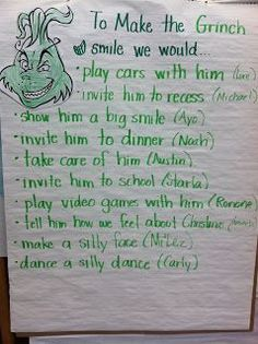 """How to Make a Grinch Smile""- perfect writing prompt for around the holidays! We do ""Grinch Day"" at school, this could be a fun writing for it!"