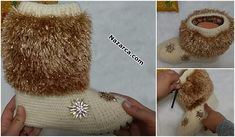SİMLİ SAKALLI İPLE ÖRGÜ ABİYE PANDUF YAPIM AŞAMALARI   Nazarca.com Baby Shoes, Crochet Hats, Beanie, Teddy Bear, Create, Kids, Long Scarf, Beanies, Crocheting