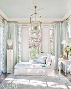 "1,710 Likes, 16 Comments - Lavender Hill Interiors (@lavenderhillinteriors) on Instagram: ""Cool elegant chaise from @AtlantaHomesMag."""