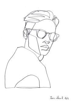 """Gaze 426″, continuous line drawing by Boris Schmitz"