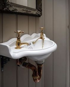 A classic Thomas Crapper sink and brass taps in our new St. Victorian Bathroom Sinks, Craftsman Bathroom, Thomas Crapper, Cloakroom Sink, Brass Tap, Toilet Sink, Downstairs Toilet, Downstairs Cloakroom, Sink Taps