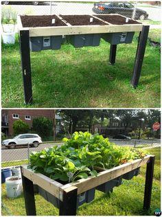 DIY Self-Watering Veggie Table Garden Bed-20 DIY Raised Garden Bed Ideas Instructions
