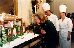 White House Gingerbread | (1997) First Lady Hillary Clinton reviews the annual gingerbread creation.