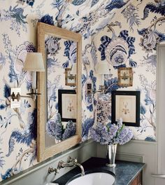 """710 Likes, 9 Comments - Eva G. Contreras (@cafedesignblog) on Instagram: """"Indian Arbre in Hyacinth.. a favorite Schumacher print! Powder room goals"""""""