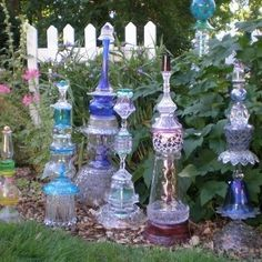 "Glass yard art from ""The Glass Junkie"" by Marlys Denison"