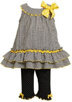 This is sweet, too...Especially if it had long knit sleeves that matched the leggings. For fall, of course.    Amazon.com: Bonnie Baby Baby-girls Infant Seersucker Top With Ruffles To Knit Capri: Clothing
