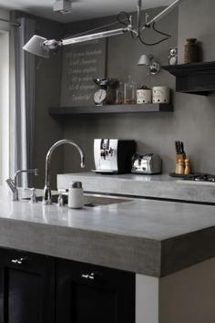 Concrete countertop. Love the thickness and color.