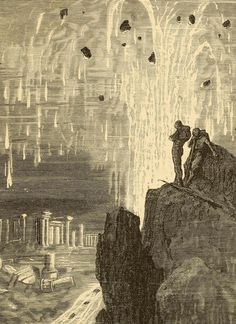 """""""There, under my eyes, destroyed, ruined, lay a town"""", illustration by Alphonse de Neuville depicting Captain Nemo's discovery of Atlantis, in Jules Verne's Twenty Thousand Leagues Under the Sea (1875)  Master of Disaster, Ignatius Donnelly   The Public Domain Review"""