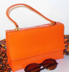 Bright Orange Mod Purse Patent Vinyl by normajeanscloset on Etsy, $44.99