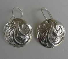 Fine Silver Scroll Earrings - Handcrafted PMC .999 from All Things Beautiful Exclusively on Ruby Lane