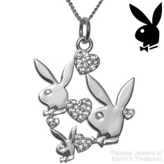 Playboy Necklace Bunny Logo Hearts Pendant Swarovski Crystal Charm Pendant #Playboy #Pendant
