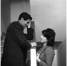"""Pier Paolo Pasolini & Anna Magnani during the filming of """"Mamma Roma"""" (1962)"""