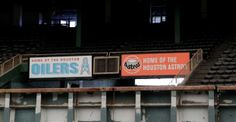 Houston Oilers and Houston Astros signs are seen inside of Reliant Astrodome Tuesday, April 3, 2012, in Houston.  The two signs were reportedly placed close together for a movie that was filmed in the Astrodome. Photo: Melissa Phillip, Houston Chronicle / © 2012 Houston Chronicle