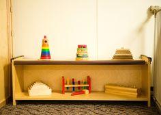 Montessori Infant Classroom. Sensorial Shelf