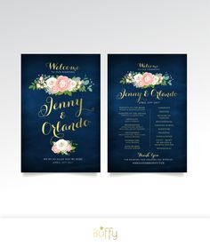 $60 on ETSY | Welcome & Program Sign - 2 Large Printed Signs Included or PDF . ANY Design in the Store . Gold Calligraphy Navy Rose Pink Peony Garland by BuffyWeddings on Etsy
