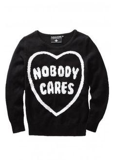 Killstar Nobody Cares Knit Sweater | Attitude Clothing