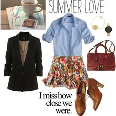Another oxford outfit. Never would have thought to wear a denim-ish shirt with it but I love it! Polyvore created by Madelanotti