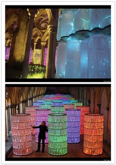 The light shining through the bottles is a great idea. I love how the color of the bottles affect the color of the light. Having colored glass instead of clear glass adds a feeling of warmth. Salisbury Cathedral, Salisbury Uk, Advanced Higher Art, Fiber Optic Lighting, Event Lighting, High Art, Art For Art Sake, Fibre, Art Object
