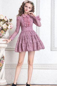 Cheap Sweet Purple Doll Collar Lace Hollow High Waist Long Sleeves Princess Dress – Fashion Lolita Dresses & Clothing Shop Source by Cute Little Girl Dresses, Dresses Kids Girl, Cute Girl Outfits, Pretty Dresses, Pink Floral Dress, Floral Dresses, Pink Lace, Girl Fashion, Fashion Dresses