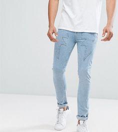 ASOS TALL Super Skinny Jeans In Light Wash Blue With Lightning Bolt De
