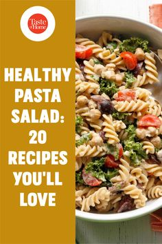 Packed with fresh produce and seasonal flavors, these healthy pasta salad recipes are a delicious addition to your menu. Healthy Pasta Salad, Easy Pasta Salad, Healthy Pastas, Pasta Salad Recipes, New Vegetarian Recipe, Potluck Salad, Spaghetti Salad, Main Dish Salads, Eating Light