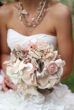 Fabric bouquet ... love the necklace/bouquet combo.