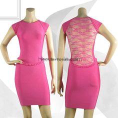 Herve Leger Pink Round-neck Lace Bandage Dress HL488P