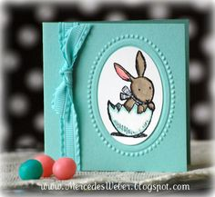 cute 3 x 3 Easter card-  great to tie onto Easter baskets.