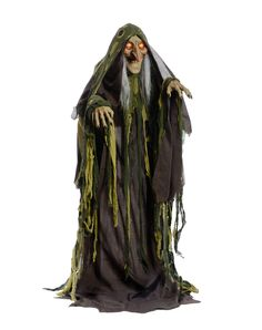 this swamp hag animatronic halloween decoration is the perfect decoration for people who love to have creepy halloween decor in their home