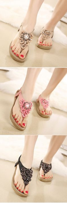 US$17.84 Bohemian Floral Bead Crystal Slip On Elastic Flat Beach Sandals