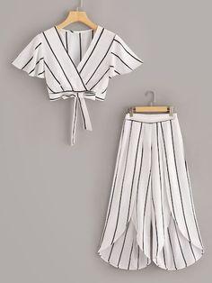 Plus Surplice Front Knot Hem Top With Asymmetrical Hem Pants