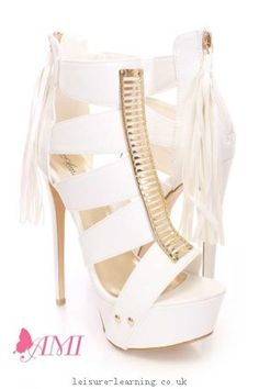 Top AMI Clubwear White Strappy High Heels Faux Leather - 918806