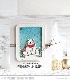 Polar Bear Pals Stamp Set and Die-namics, Starry Circle Die-namics, Stitched Rounded Rectangle Frames Die-namics, Icebergs Die-namics - Yoonsun Hur  #mftstamps