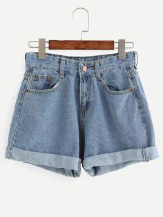 Shorts denim ribete enrollado - azul