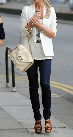 white blazer, skinny jeans, and wedges!