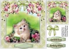 A lovely card with a beautiful Cute Kitten and pink roses has 2 greeting tags and a blank one